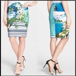Clover Canyon Corfu Swirl Neoprene Pencil Skirt M